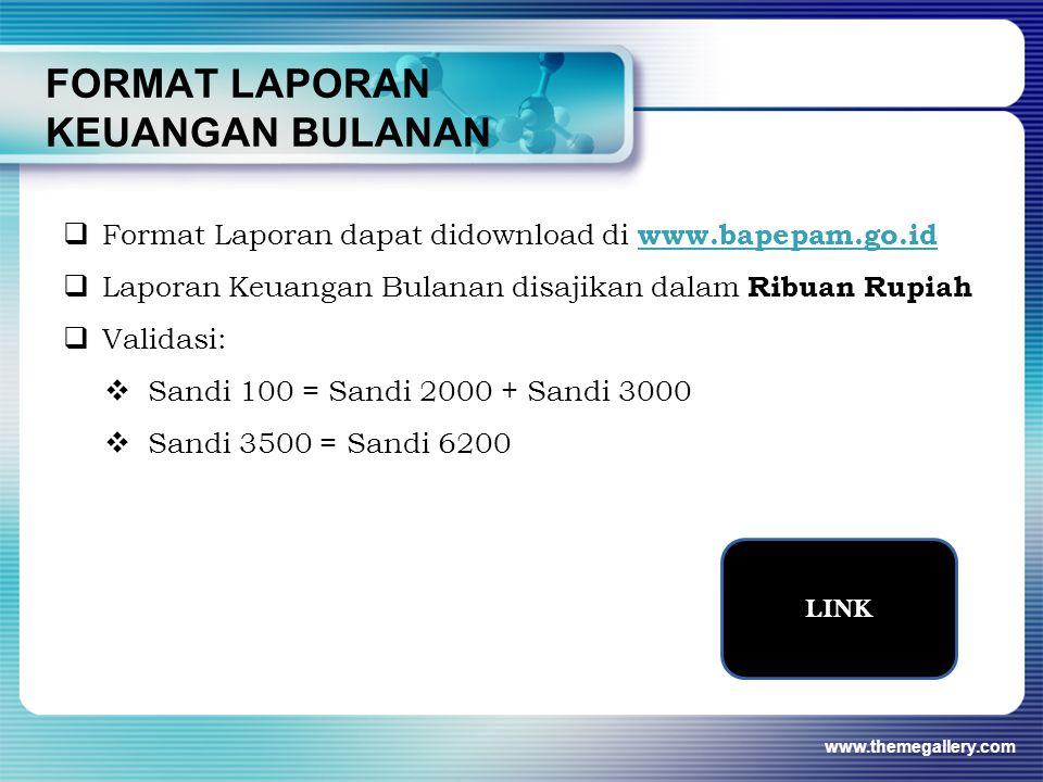FORMAT LAPORAN KEUANGAN BULANAN www.themegallery.com LINK  Format Laporan dapat didownload di www.bapepam.go.id www.bapepam.go.id  Laporan Keuangan