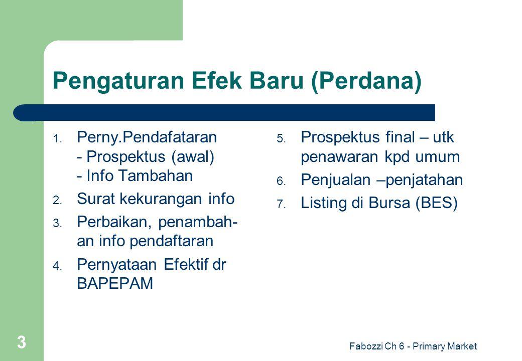 Fabozzi Ch 6 - Primary Market 3 Pengaturan Efek Baru (Perdana) 1. Perny.Pendafataran - Prospektus (awal) - Info Tambahan 2. Surat kekurangan info 3. P