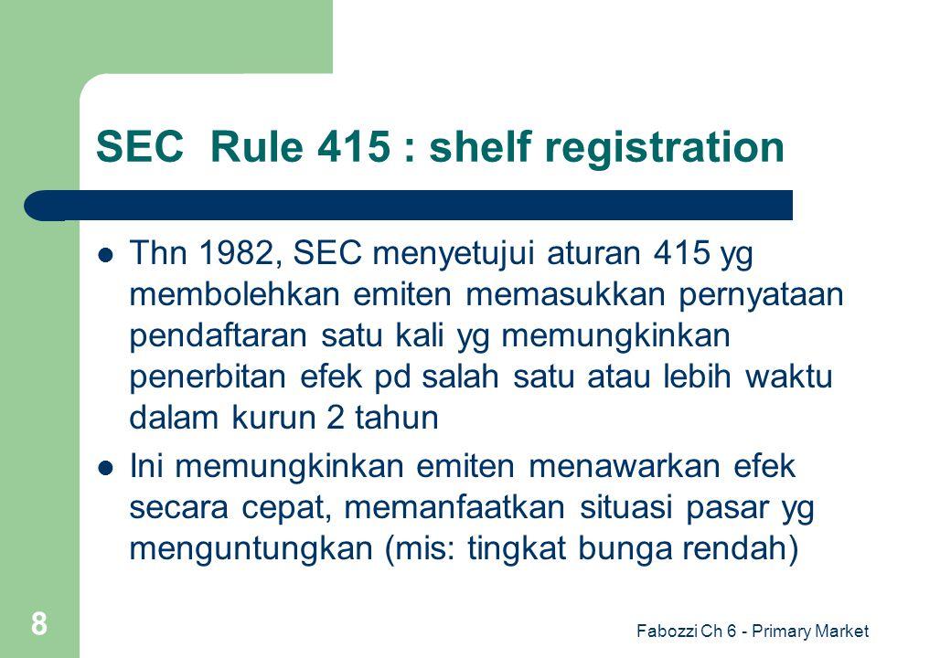 Fabozzi Ch 6 - Primary Market 8 SEC Rule 415 : shelf registration Thn 1982, SEC menyetujui aturan 415 yg membolehkan emiten memasukkan pernyataan pend