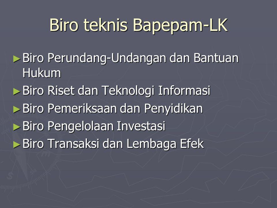 Biro teknis Bapepam-LK ► Biro Perundang-Undangan dan Bantuan Hukum ► Biro Riset dan Teknologi Informasi ► Biro Pemeriksaan dan Penyidikan ► Biro Penge