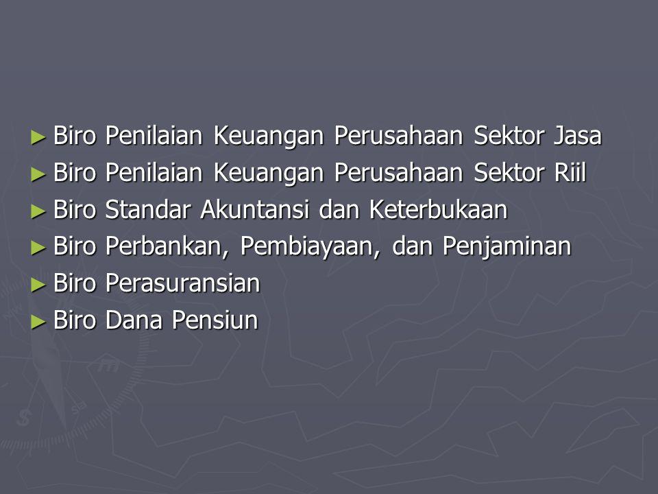 ► Biro Penilaian Keuangan Perusahaan Sektor Jasa ► Biro Penilaian Keuangan Perusahaan Sektor Riil ► Biro Standar Akuntansi dan Keterbukaan ► Biro Perb