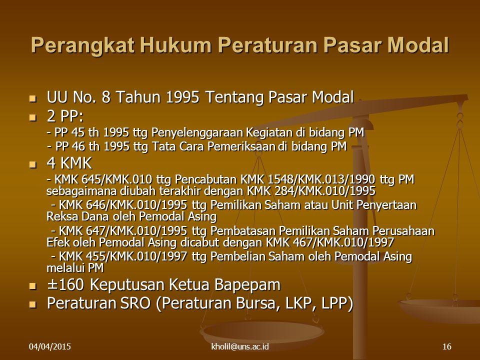 04/04/2015kholil@uns.ac.id16 Perangkat Hukum Peraturan Pasar Modal UU No. 8 Tahun 1995 Tentang Pasar Modal UU No. 8 Tahun 1995 Tentang Pasar Modal 2 P