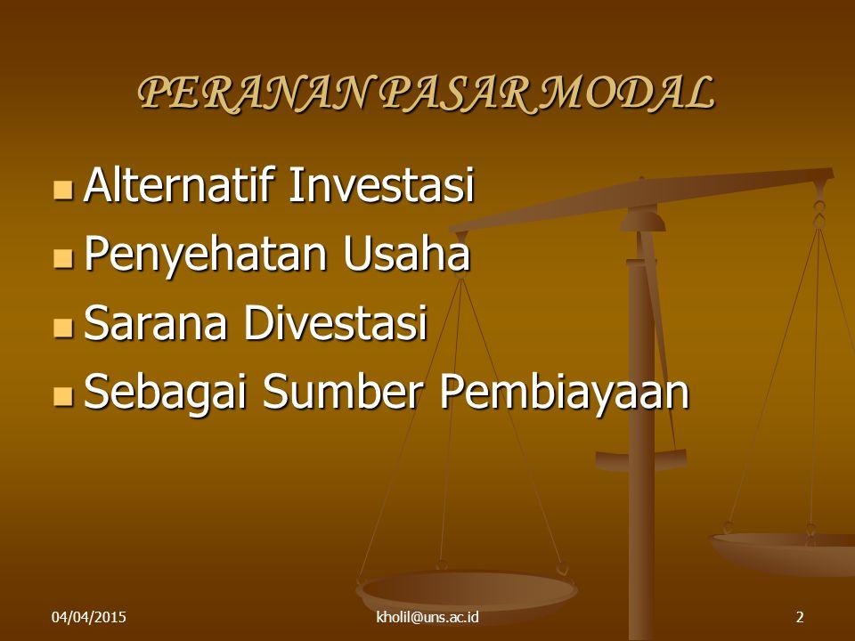 04/04/2015kholil@uns.ac.id2 PERANAN PASAR MODAL Alternatif Investasi Alternatif Investasi Penyehatan Usaha Penyehatan Usaha Sarana Divestasi Sarana Di