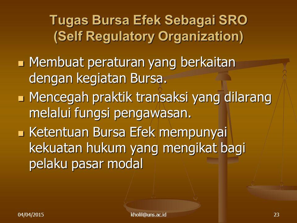 04/04/2015kholil@uns.ac.id23 Tugas Bursa Efek Sebagai SRO (Self Regulatory Organization) Membuat peraturan yang berkaitan dengan kegiatan Bursa. Membu