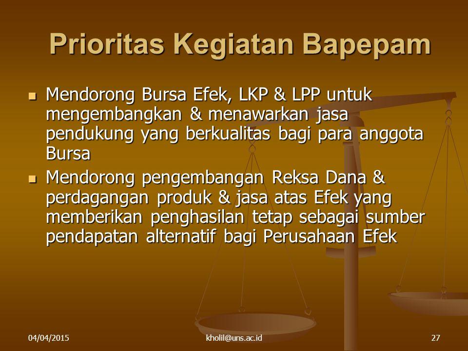 04/04/2015kholil@uns.ac.id27 Prioritas Kegiatan Bapepam Mendorong Bursa Efek, LKP & LPP untuk mengembangkan & menawarkan jasa pendukung yang berkualit