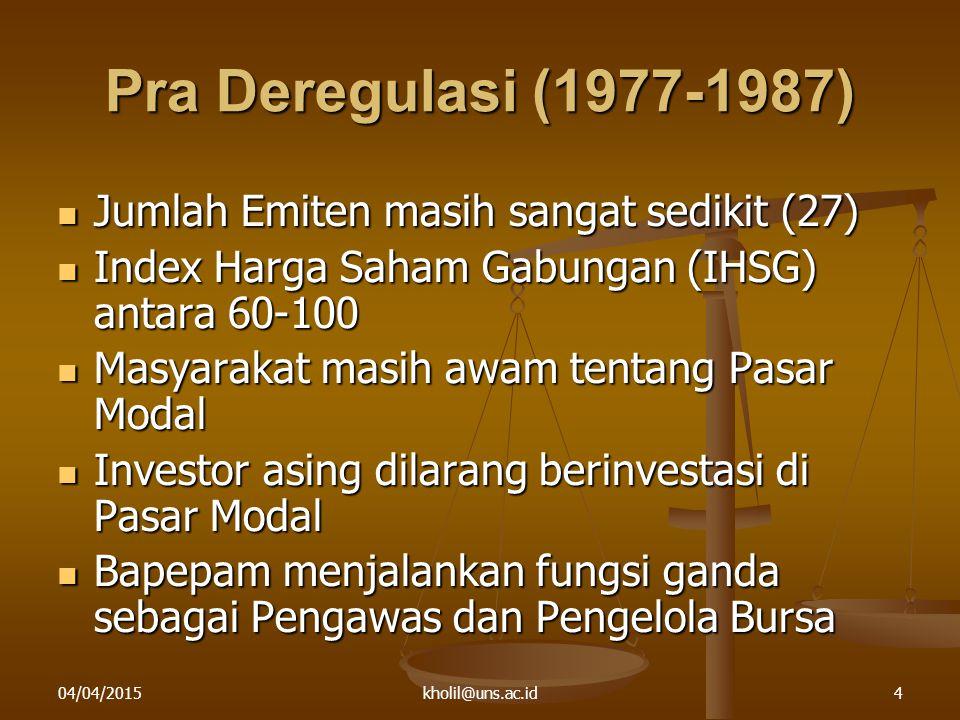 04/04/2015kholil@uns.ac.id4 Pra Deregulasi (1977-1987) Jumlah Emiten masih sangat sedikit (27) Jumlah Emiten masih sangat sedikit (27) Index Harga Sah
