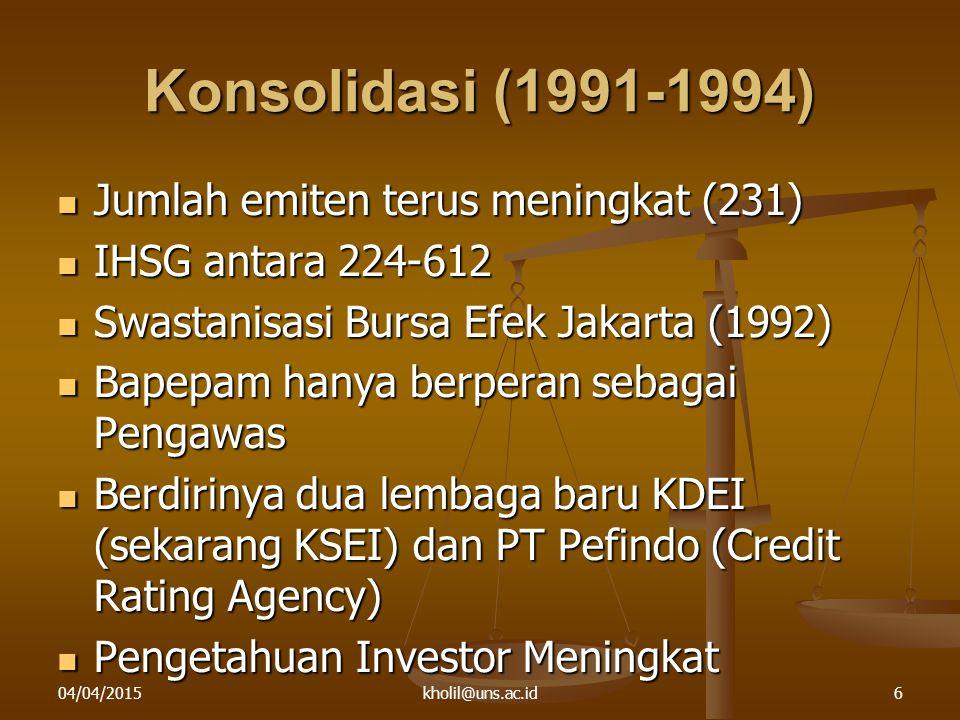 04/04/2015kholil@uns.ac.id6 Konsolidasi (1991-1994) Jumlah emiten terus meningkat (231) Jumlah emiten terus meningkat (231) IHSG antara 224-612 IHSG antara 224-612 Swastanisasi Bursa Efek Jakarta (1992) Swastanisasi Bursa Efek Jakarta (1992) Bapepam hanya berperan sebagai Pengawas Bapepam hanya berperan sebagai Pengawas Berdirinya dua lembaga baru KDEI (sekarang KSEI) dan PT Pefindo (Credit Rating Agency) Berdirinya dua lembaga baru KDEI (sekarang KSEI) dan PT Pefindo (Credit Rating Agency) Pengetahuan Investor Meningkat Pengetahuan Investor Meningkat