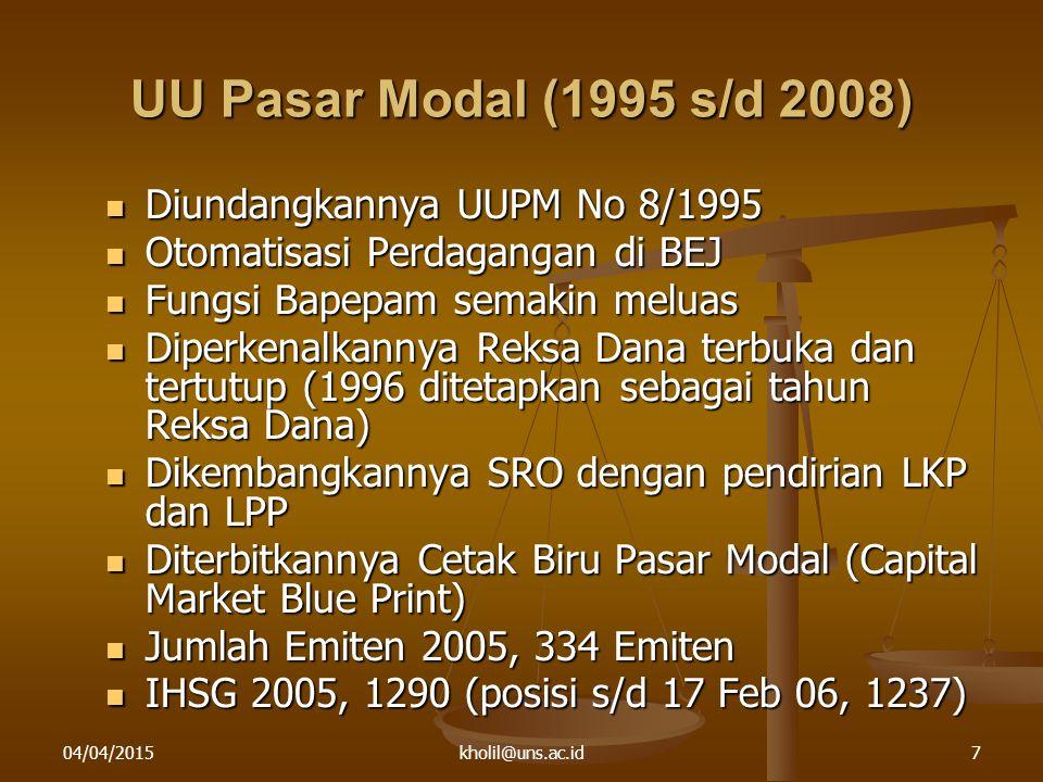 04/04/2015kholil@uns.ac.id7 UU Pasar Modal (1995 s/d 2008) Diundangkannya UUPM No 8/1995 Diundangkannya UUPM No 8/1995 Otomatisasi Perdagangan di BEJ Otomatisasi Perdagangan di BEJ Fungsi Bapepam semakin meluas Fungsi Bapepam semakin meluas Diperkenalkannya Reksa Dana terbuka dan tertutup (1996 ditetapkan sebagai tahun Reksa Dana) Diperkenalkannya Reksa Dana terbuka dan tertutup (1996 ditetapkan sebagai tahun Reksa Dana) Dikembangkannya SRO dengan pendirian LKP dan LPP Dikembangkannya SRO dengan pendirian LKP dan LPP Diterbitkannya Cetak Biru Pasar Modal (Capital Market Blue Print) Diterbitkannya Cetak Biru Pasar Modal (Capital Market Blue Print) Jumlah Emiten 2005, 334 Emiten Jumlah Emiten 2005, 334 Emiten IHSG 2005, 1290 (posisi s/d 17 Feb 06, 1237) IHSG 2005, 1290 (posisi s/d 17 Feb 06, 1237)