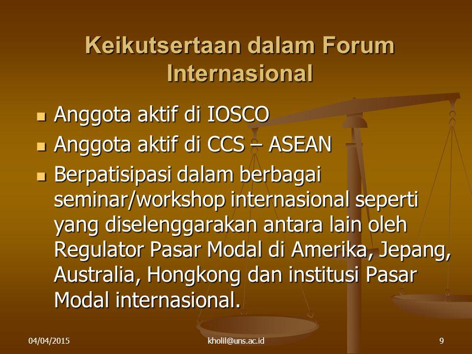 04/04/2015kholil@uns.ac.id9 Keikutsertaan dalam Forum Internasional Anggota aktif di IOSCO Anggota aktif di IOSCO Anggota aktif di CCS – ASEAN Anggota