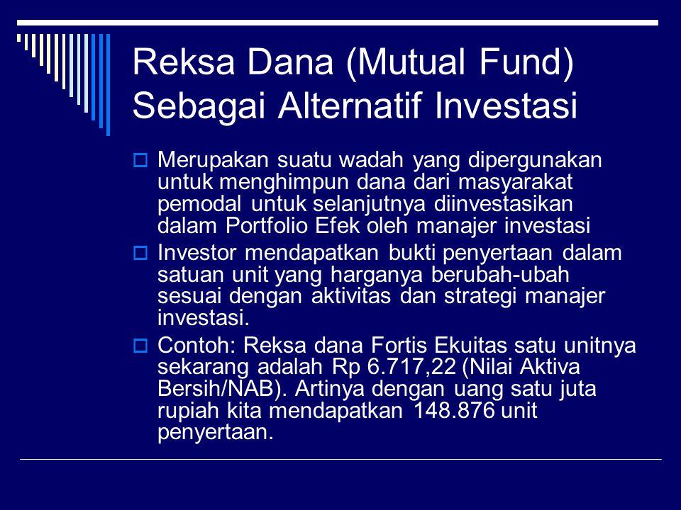 Reksa Dana (Mutual Fund) Sebagai Alternatif Investasi  Merupakan suatu wadah yang dipergunakan untuk menghimpun dana dari masyarakat pemodal untuk se