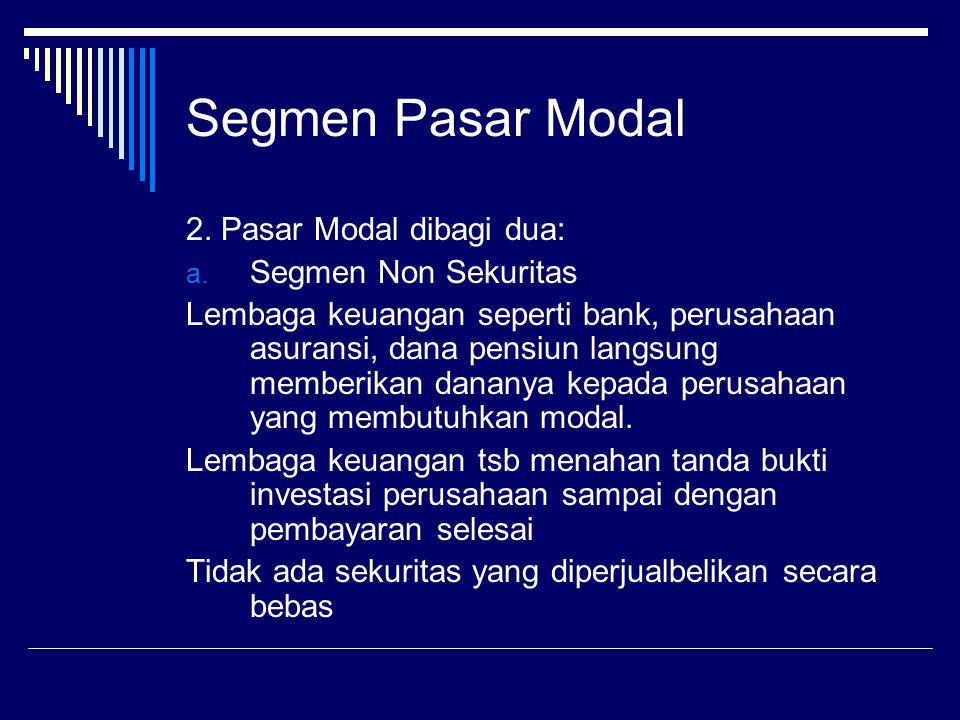Segmen Pasar Modal 2. Pasar Modal dibagi dua: a. Segmen Non Sekuritas Lembaga keuangan seperti bank, perusahaan asuransi, dana pensiun langsung member