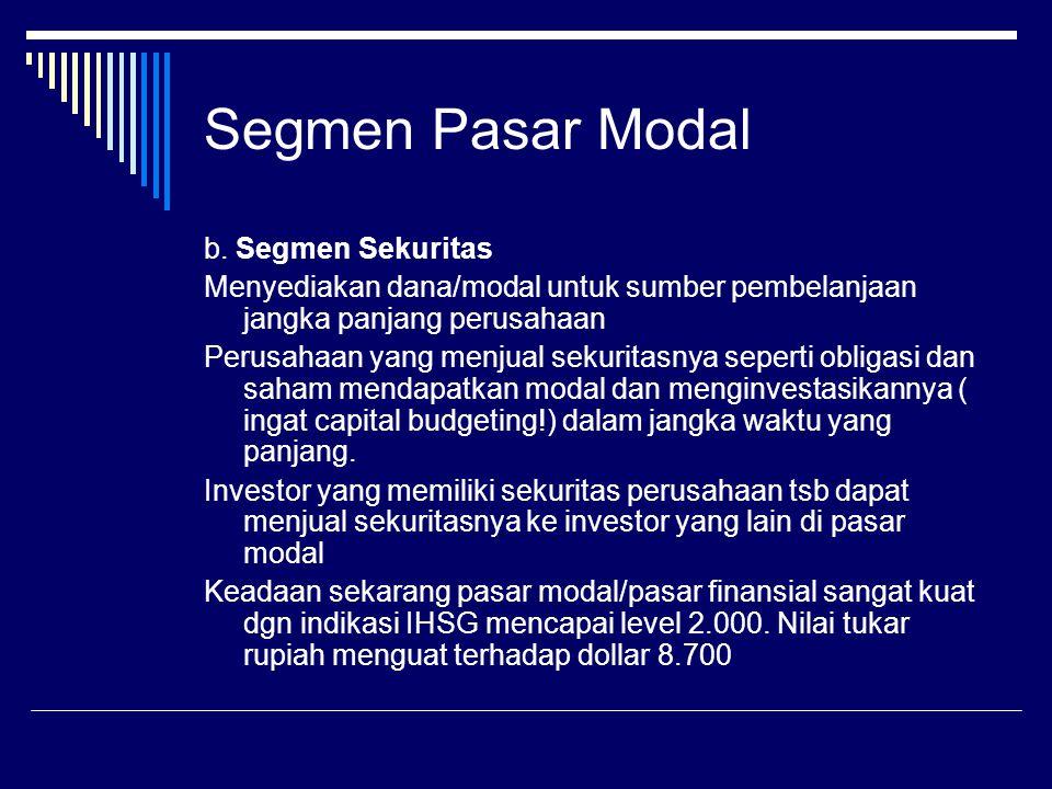 Segmen Pasar Modal b. Segmen Sekuritas Menyediakan dana/modal untuk sumber pembelanjaan jangka panjang perusahaan Perusahaan yang menjual sekuritasnya