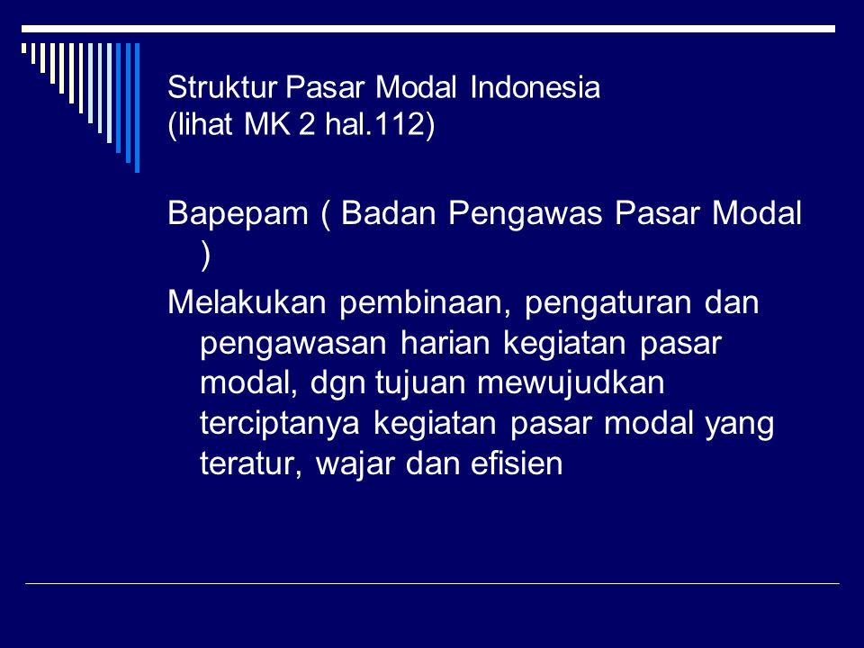 Struktur Pasar Modal Indonesia (lihat MK 2 hal.112) Bapepam ( Badan Pengawas Pasar Modal ) Melakukan pembinaan, pengaturan dan pengawasan harian kegiatan pasar modal, dgn tujuan mewujudkan terciptanya kegiatan pasar modal yang teratur, wajar dan efisien