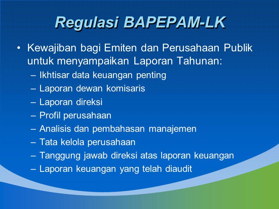 Regulasi BAPEPAM-LK (Cont'd) Peraturan Nomor VIII.G.7 Tentang Pedoman Penyajian Laporan Keuangan –Peraturan ini menetapkan bentuk, isi, dan persyaratan dalam penyajian laporan keuangan yang harus disampaikan oleh Emiten atau Perusahaan Publik