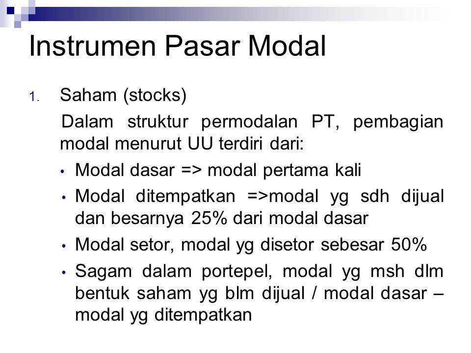 Instrumen Pasar Modal 1. Saham (stocks) Dalam struktur permodalan PT, pembagian modal menurut UU terdiri dari: Modal dasar => modal pertama kali Modal