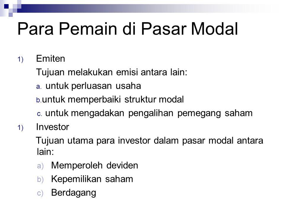 Para Pemain di Pasar Modal 1) Emiten Tujuan melakukan emisi antara lain: a. untuk perluasan usaha b. untuk memperbaiki struktur modal c. untuk mengada