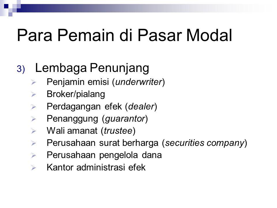 3) Lembaga Penunjang  Penjamin emisi (underwriter)  Broker/pialang  Perdagangan efek (dealer)  Penanggung (guarantor)  Wali amanat (trustee)  Pe