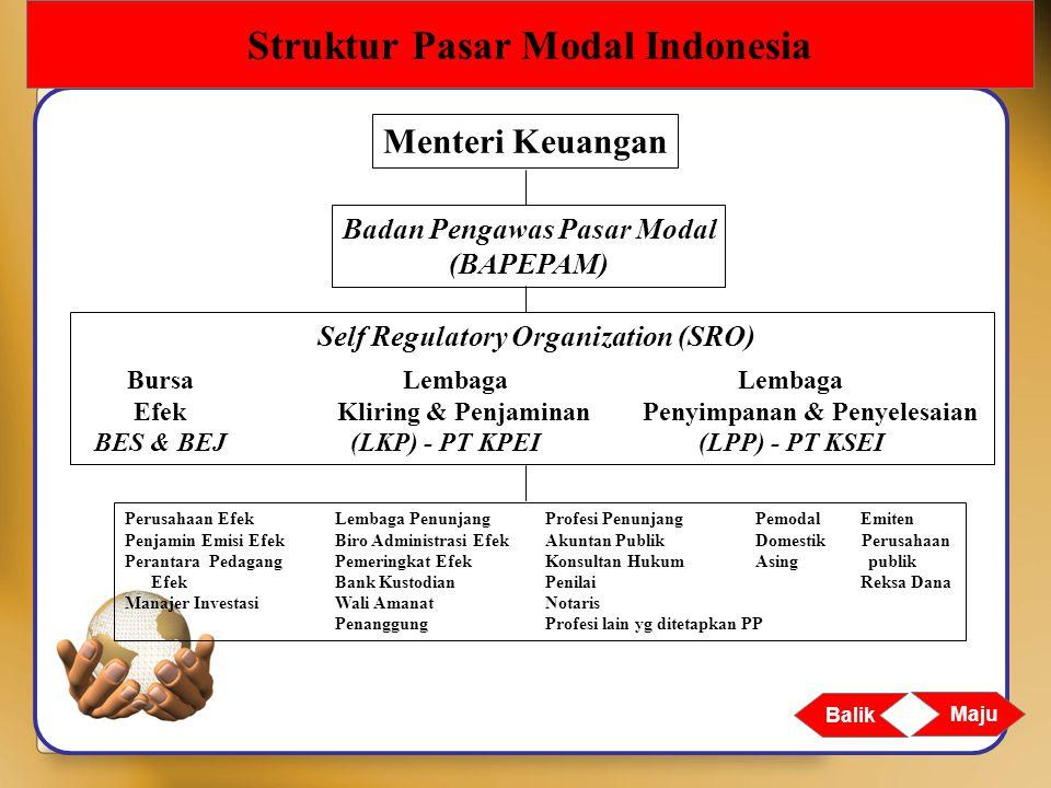 Maju Balik Struktur Pasar Modal Indonesia Perusahaan EfekLembaga PenunjangProfesi PenunjangPemodalEmiten Penjamin Emisi EfekBiro Administrasi EfekAkun