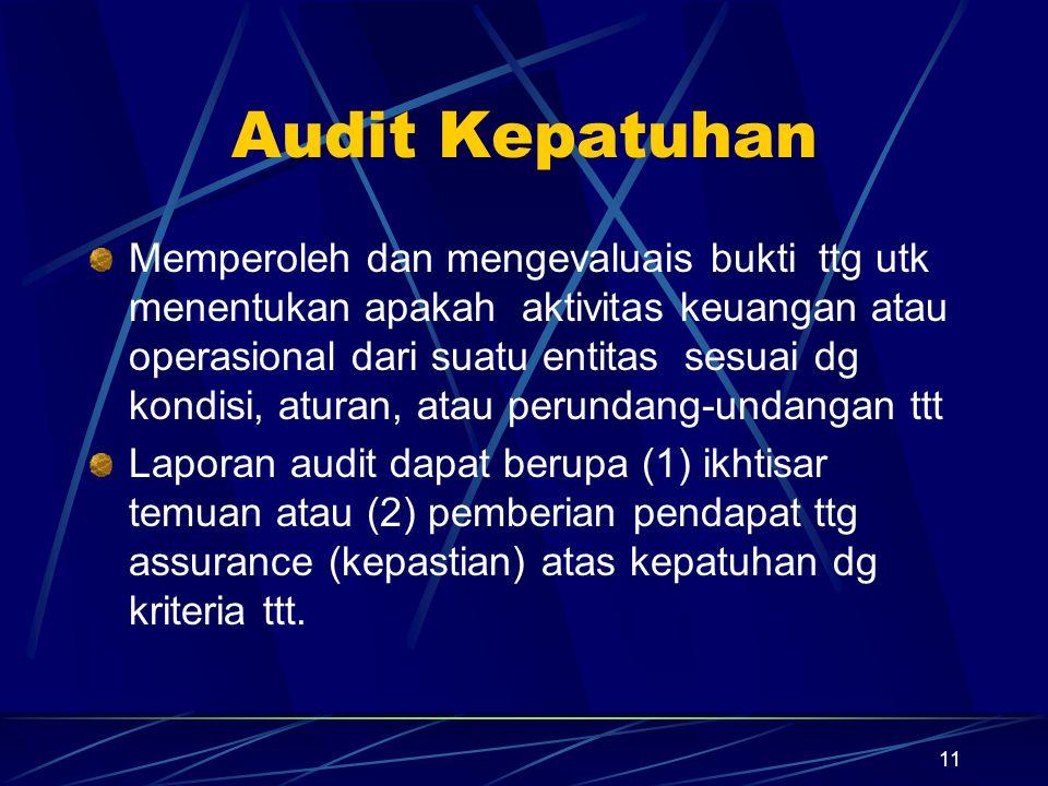 11 Audit Kepatuhan Memperoleh dan mengevaluais bukti ttg utk menentukan apakah aktivitas keuangan atau operasional dari suatu entitas sesuai dg kondis