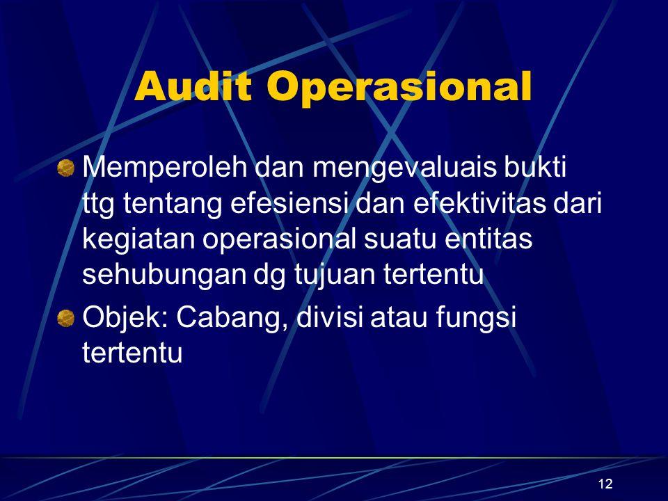 12 Audit Operasional Memperoleh dan mengevaluais bukti ttg tentang efesiensi dan efektivitas dari kegiatan operasional suatu entitas sehubungan dg tuj