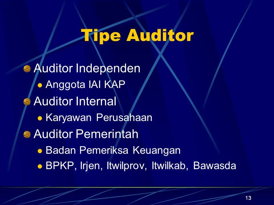 13 Tipe Auditor Auditor Independen Anggota IAI KAP Auditor Internal Karyawan Perusahaan Auditor Pemerintah Badan Pemeriksa Keuangan BPKP, Irjen, Itwil