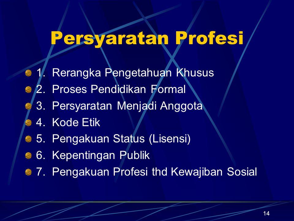 14 Persyaratan Profesi 1. Rerangka Pengetahuan Khusus 2. Proses Pendidikan Formal 3. Persyaratan Menjadi Anggota 4. Kode Etik 5. Pengakuan Status (Lis