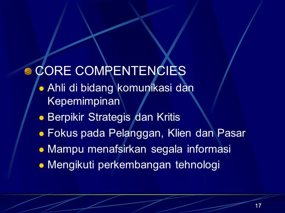 17 CORE COMPENTENCIES Ahli di bidang komunikasi dan Kepemimpinan Berpikir Strategis dan Kritis Fokus pada Pelanggan, Klien dan Pasar Mampu menafsirkan
