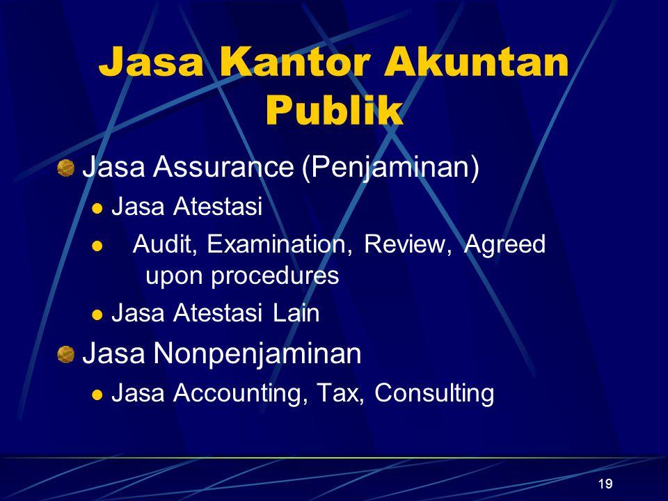 19 Jasa Kantor Akuntan Publik Jasa Assurance (Penjaminan) Jasa Atestasi Audit, Examination, Review, Agreed upon procedures Jasa Atestasi Lain Jasa Non