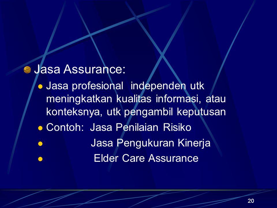 20 Jasa Assurance: Jasa profesional independen utk meningkatkan kualitas informasi, atau konteksnya, utk pengambil keputusan Contoh: Jasa Penilaian Ri