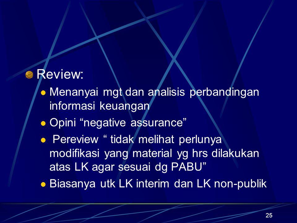 """25 Review: Menanyai mgt dan analisis perbandingan informasi keuangan Opini """"negative assurance"""" Pereview """" tidak melihat perlunya modifikasi yang mate"""