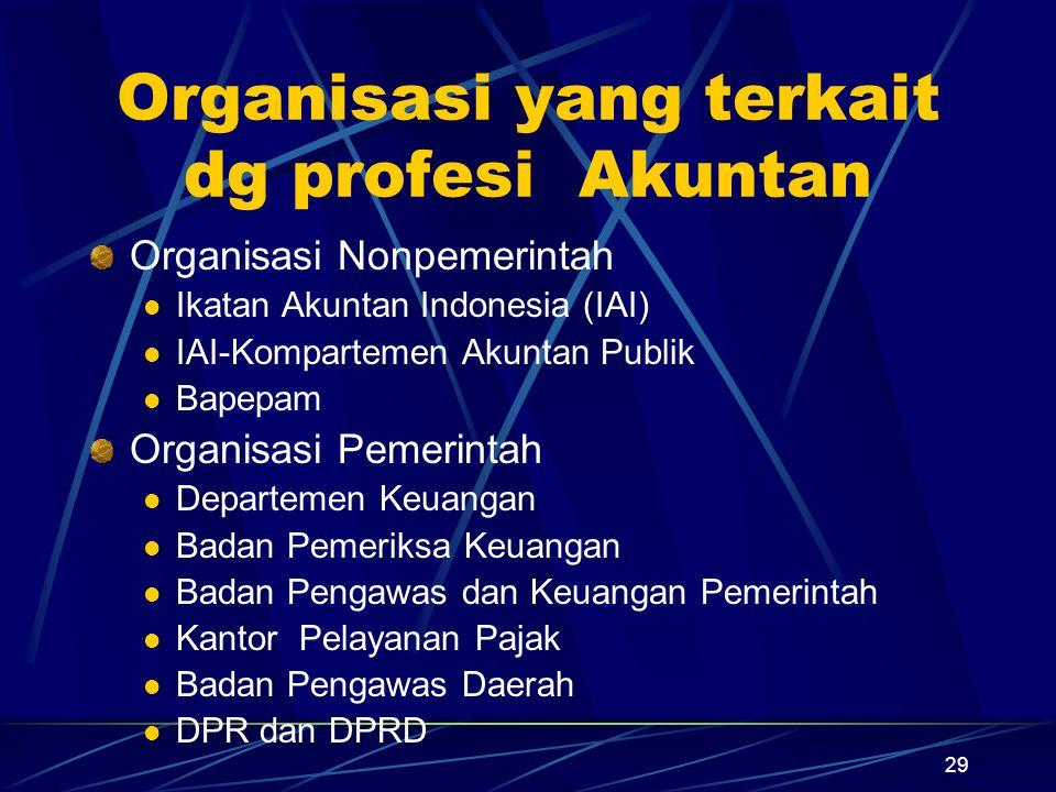 29 Organisasi yang terkait dg profesi Akuntan Organisasi Nonpemerintah Ikatan Akuntan Indonesia (IAI) IAI-Kompartemen Akuntan Publik Bapepam Organisas