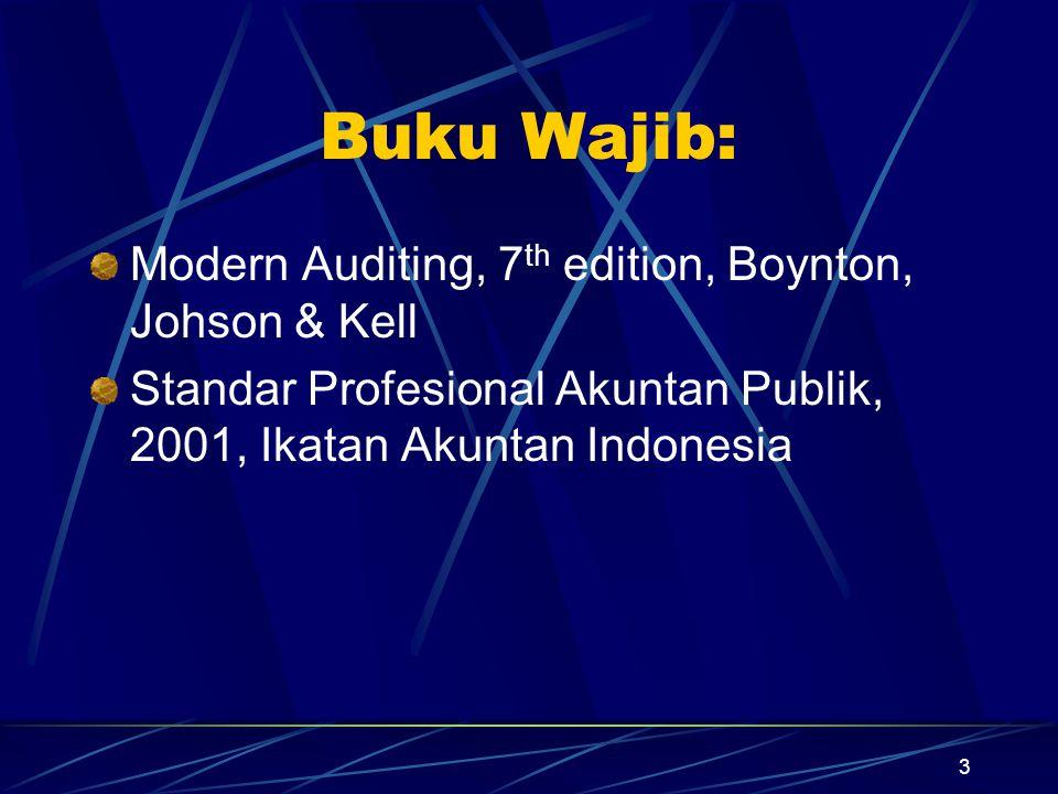 4 Materi Perkuliahan 1 Auditing dan Profesi Akuntan Publik 2 Audit Laporan Keuangan dan Tanggungjawab Auditor 3 Etika Profesi dan Kewajiban Hukum Auditor 4 Tinjauan Atas Proses Audit 5 Sasaran Audit, Bukti Audit, Program Audit dan Kertas Kerja 6 Penerimaan Tugas dan Perencanaan Audit