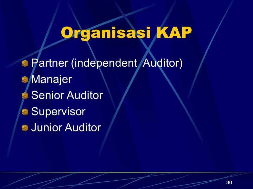30 Organisasi KAP Partner (independent Auditor) Manajer Senior Auditor Supervisor Junior Auditor