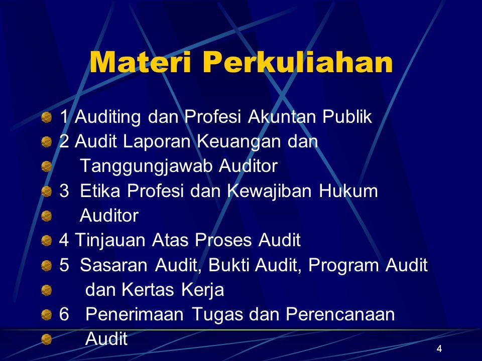 5 … 7 Materialitas, Risiko dan Strategi Audit Pendahuluan 8 Pemahaman Pengendalian Intern 9 Penilaian Risiko Kontrol/Uji Kontrol 10 Risiko Deteksi dan Disain Uji Substantif 11 Sampling Audit dlm Uji Kontrol 12 Sampling Audit dlm Uji Substantif