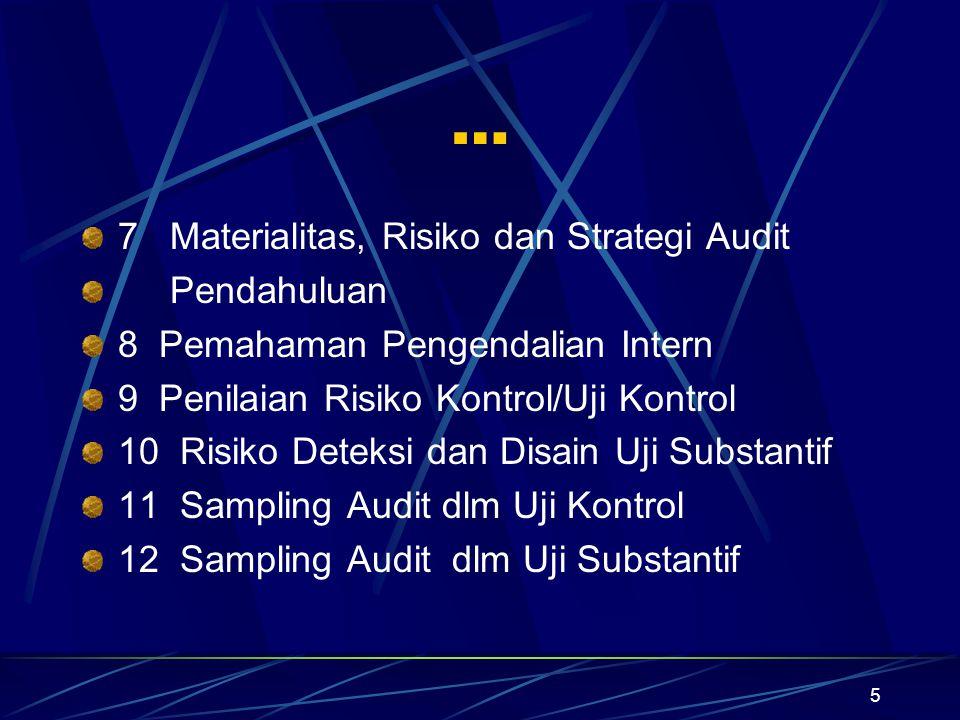 5 … 7 Materialitas, Risiko dan Strategi Audit Pendahuluan 8 Pemahaman Pengendalian Intern 9 Penilaian Risiko Kontrol/Uji Kontrol 10 Risiko Deteksi dan
