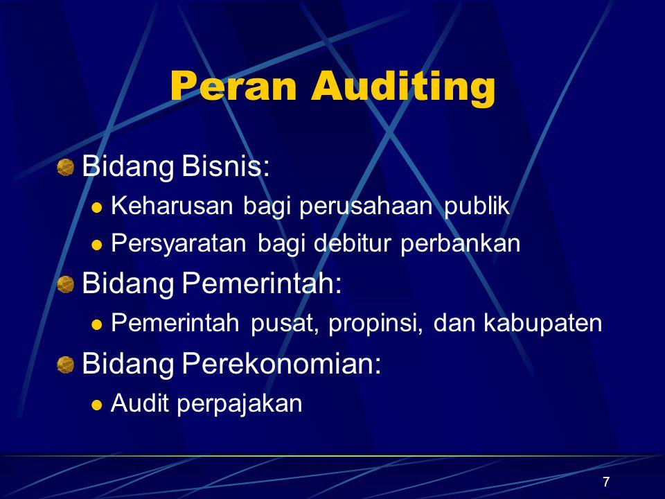7 Peran Auditing Bidang Bisnis: Keharusan bagi perusahaan publik Persyaratan bagi debitur perbankan Bidang Pemerintah: Pemerintah pusat, propinsi, dan