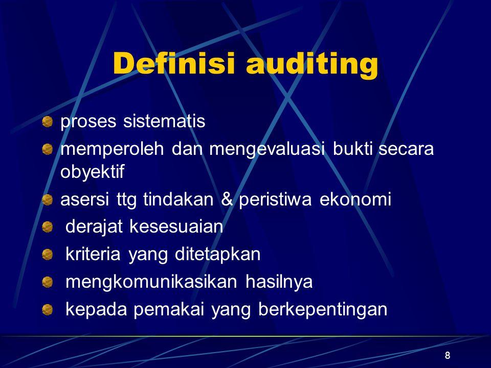 8 Definisi auditing proses sistematis memperoleh dan mengevaluasi bukti secara obyektif asersi ttg tindakan & peristiwa ekonomi derajat kesesuaian kri