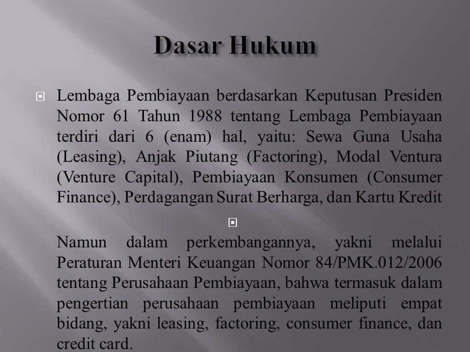  Lembaga Pembiayaan berdasarkan Keputusan Presiden Nomor 61 Tahun 1988 tentang Lembaga Pembiayaan terdiri dari 6 (enam) hal, yaitu: Sewa Guna Usaha (