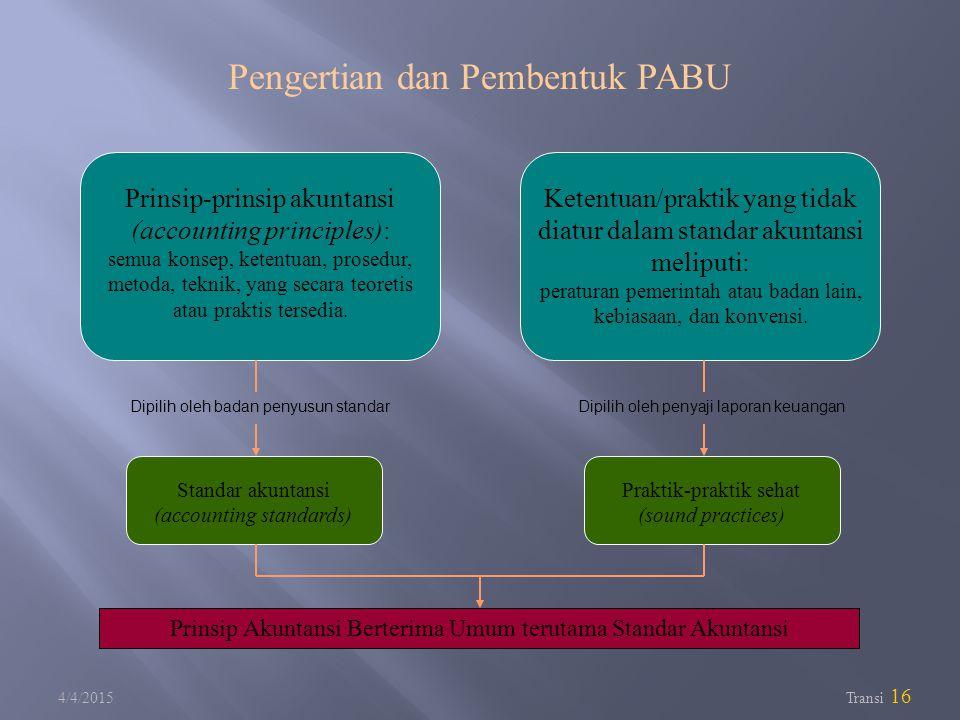 4/4/2015 Transi 16 Prinsip-prinsip akuntansi (accounting principles): semua konsep, ketentuan, prosedur, metoda, teknik, yang secara teoretis atau pra