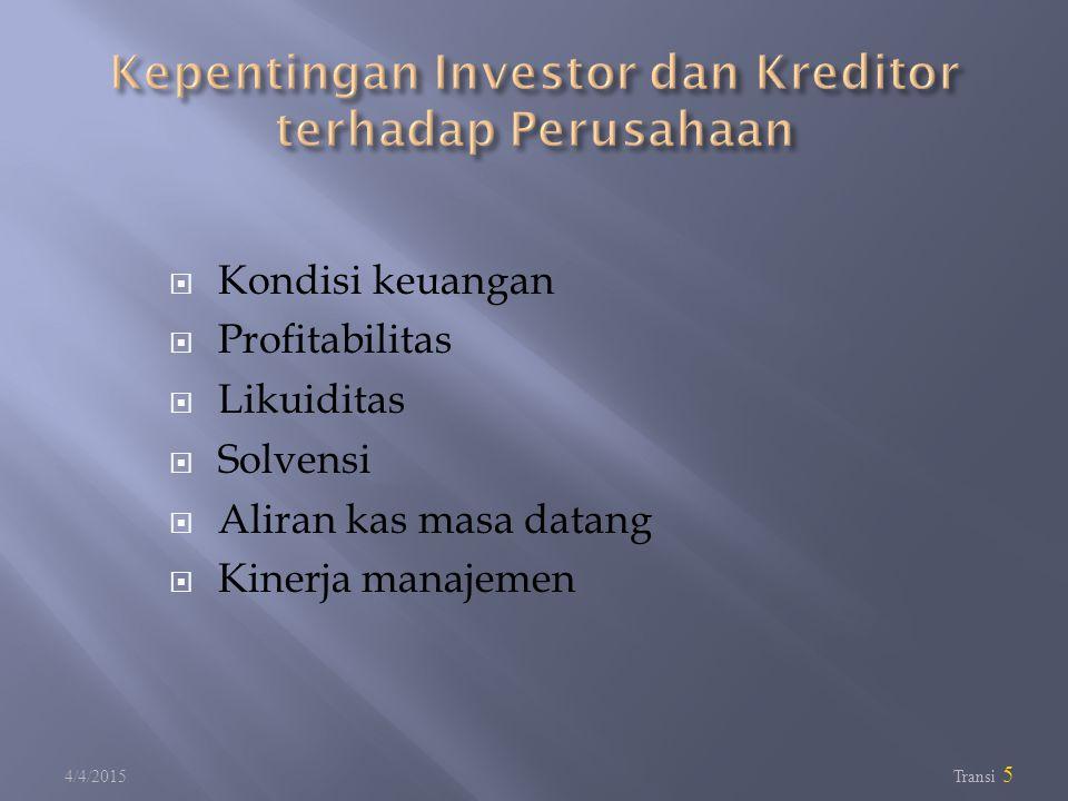  Kondisi keuangan  Profitabilitas  Likuiditas  Solvensi  Aliran kas masa datang  Kinerja manajemen 4/4/2015 Transi 5