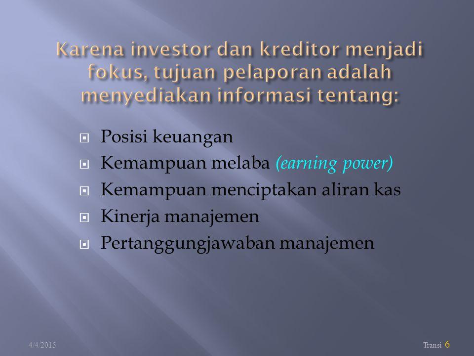  Posisi keuangan  Kemampuan melaba (earning power)  Kemampuan menciptakan aliran kas  Kinerja manajemen  Pertanggungjawaban manajemen 4/4/2015 Tr