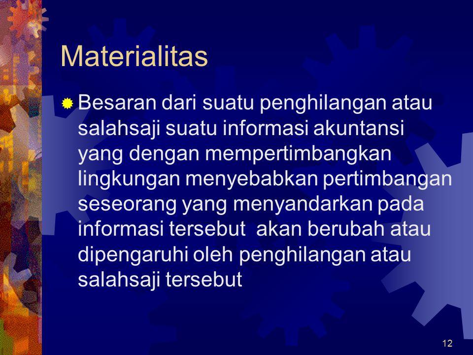 12 Materialitas  Besaran dari suatu penghilangan atau salahsaji suatu informasi akuntansi yang dengan mempertimbangkan lingkungan menyebabkan pertimbangan seseorang yang menyandarkan pada informasi tersebut akan berubah atau dipengaruhi oleh penghilangan atau salahsaji tersebut