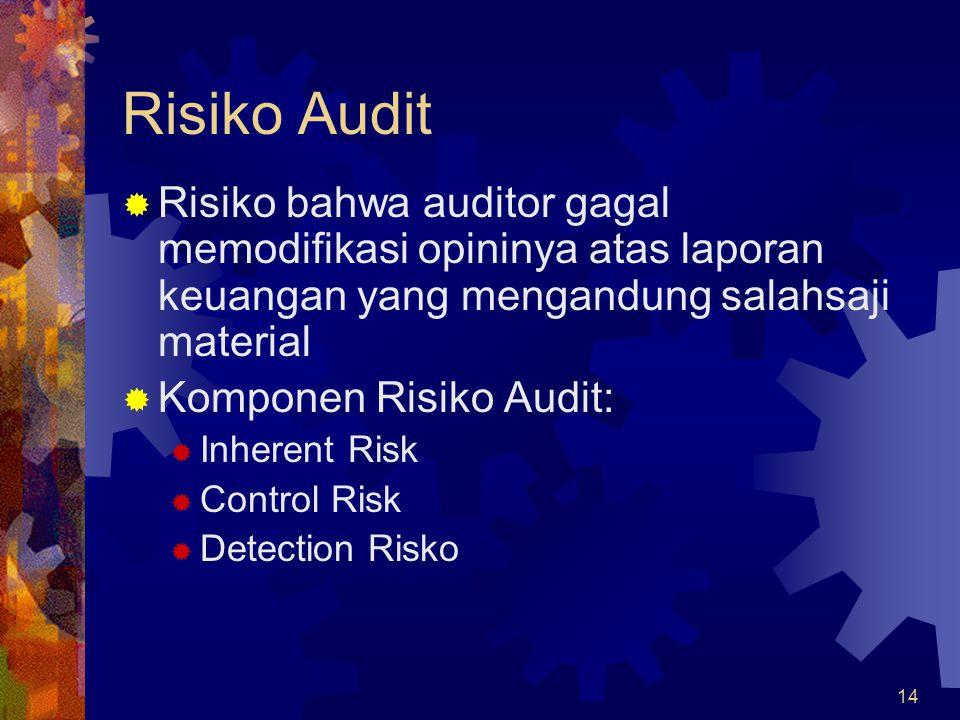 14 Risiko Audit  Risiko bahwa auditor gagal memodifikasi opininya atas laporan keuangan yang mengandung salahsaji material  Komponen Risiko Audit:  Inherent Risk  Control Risk  Detection Risko