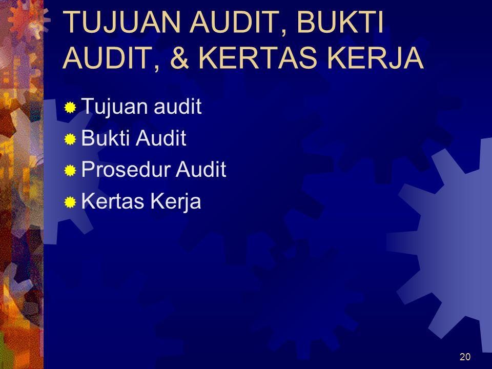 20 TUJUAN AUDIT, BUKTI AUDIT, & KERTAS KERJA  Tujuan audit  Bukti Audit  Prosedur Audit  Kertas Kerja
