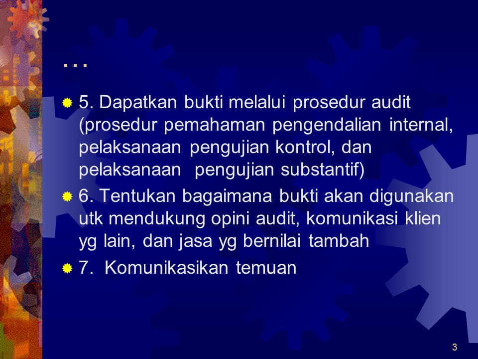 24 Jenis pengujian audit:  Tipe dan efektivitas pengujian audit  Prosedur audit hrs terkait dg tujuan audit  Bukti hrs relevan dg asersi manajemen  Harus mempertimbangkan biaya relatif dg efektivitas audit sehubungan dg tujuan audit