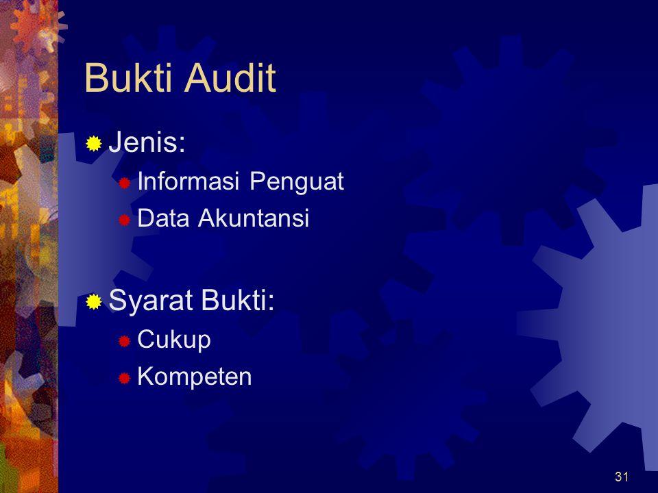 31 Bukti Audit  Jenis:  Informasi Penguat  Data Akuntansi  Syarat Bukti:  Cukup  Kompeten