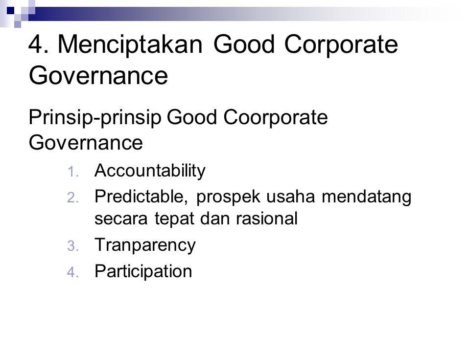 4.Menciptakan Good Corporate Governance Prinsip-prinsip Good Coorporate Governance 1.