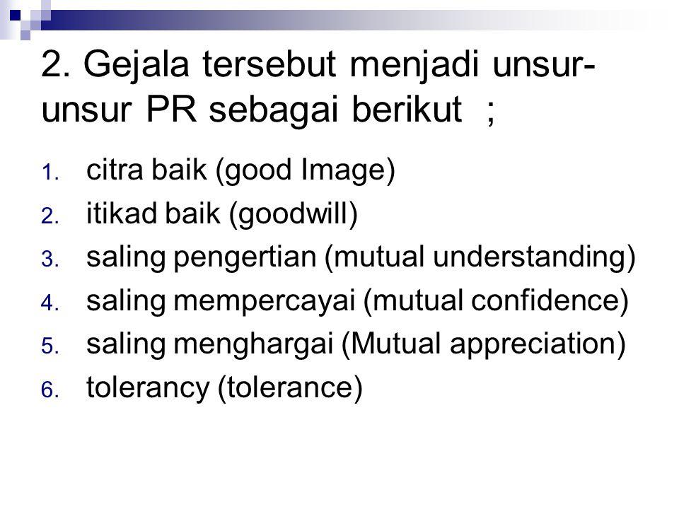 2.Gejala tersebut menjadi unsur- unsur PR sebagai berikut ; 1.