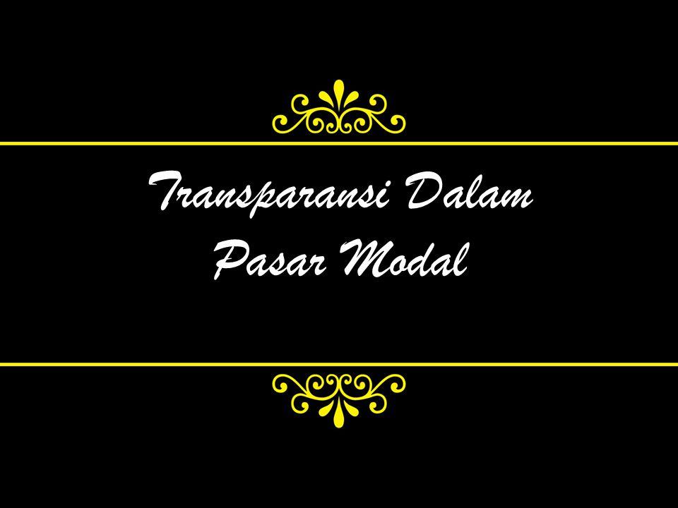 Transparansi Dalam Pasar Modal
