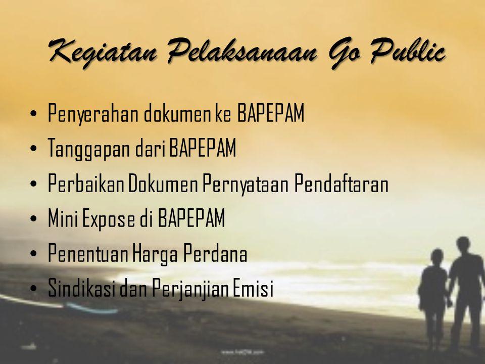 Kegiatan Pelaksanaan Go Public Penyerahan dokumen ke BAPEPAM Tanggapan dari BAPEPAM Perbaikan Dokumen Pernyataan Pendaftaran Mini Expose di BAPEPAM Pe